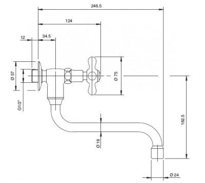 Zazzeri 802 Enkel koud water kraan 20020600A00CRCR