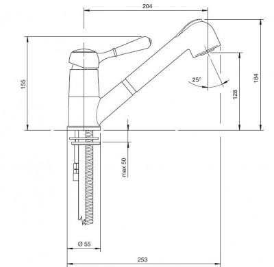 Zazzeri 900 Keukenmengkraan met handdouche Chroom 51021102A00CRCR